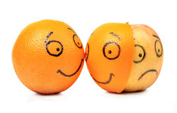 Apple and Orange emotions stock photos