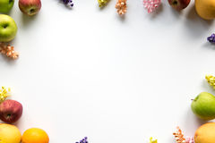 Apple, Orange & Flower Frame. Colorful frame of Fruit and flowers Stock Photography