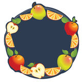 Apple Orange Frame. Apple and orange composition make a frame. Can used as label Royalty Free Stock Image