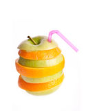Apple orange fresh diet white Royalty Free Stock Photo