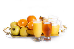 Apple and orange fruits with juice Stock Image
