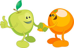 Apple and Orange happily shaki. A conceptual vector illustration of an apple and orange shaking hands. Opposites attract, or different but equal, or perhaps a Stock Photography