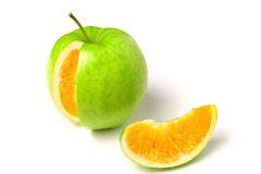 Apple with orange inside Stock Image