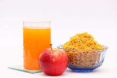 Apple, orange juice and snacks Royalty Free Stock Photography