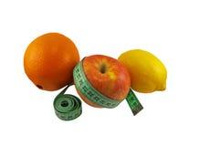 Apple, orange and lemon. On white background Stock Images
