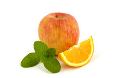 Apple orange and mint Royalty Free Stock Photography