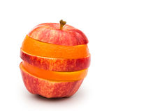 Apple and orange mixed Royalty Free Stock Photography