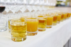 Apple and orange or peach juice Stock Photo