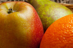 Apple, orange, and pear fruit. Royalty Free Stock Image