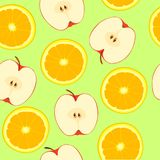 Apple and orange, seamless pattern Stock Photography