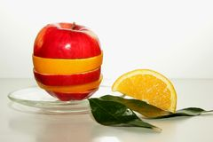 Apple, orange slice and green leaves Royalty Free Stock Photo
