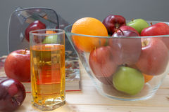 Apple and Orange. On the table Stock Photos