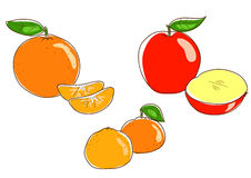 Apple orange and tangerine Royalty Free Stock Images