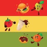 Apple, orange, tomato fighting burger, donut, coke. Cartoon style vector illustration isolated on white background. Health food against fast food, smart eating Stock Images