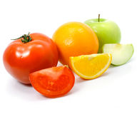 Apple orange and tomato fruits with cuts isolated Stock Image