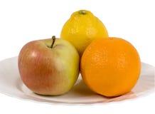 Apple, Orange und Zitrone Stockbilder