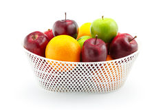 Apple and Orange. On the white background Stock Image