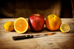Apple, oranges and lemons Stock Photo