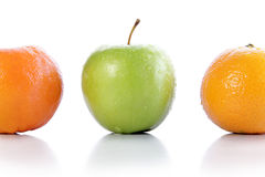 Apple and oranges Stock Photos