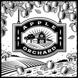 Apple Orchard black and white. Retro landscape with Apple Orchard sign in woodcut style. Black and white vector illustration with clipping mask Stock Photography