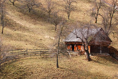 Apple orchard and hillside house royalty free stock photography