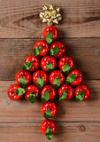 Apple Ornaments in Christmas Tree Shape Royalty Free Stock Photos