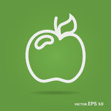 Apple outline icon. White color isolated on green background Stock Images