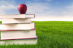 An apple over stack of books outdoor Stock Photos