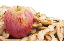 Apple på en säng av torkade äpplen Fotografering för Bildbyråer