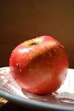Apple på plattan royaltyfria bilder