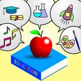 Apple på utbildningsboken royaltyfri illustrationer