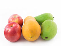 Apple and papaya and mango. Two apple and papaya and two mango stock images