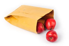 Apple in paper bag Stock Image