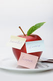Apple with paper notes Stock Images