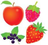 Apple, pasas, frambuesa, fresa Fotografía de archivo