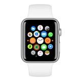 Apple passen Sport-silbernen Aluminiumfall mit weißem Sport-Band auf Lizenzfreies Stockbild