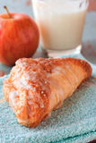 Apple pastry with milk Stock Photography