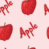 Apple Pattern. A seamles pattern of sketched apples and the word apple Stock Illustration