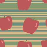Apple Pattern. A seamless pattern of red apples on a blue, green and tan striped background Royalty Free Illustration