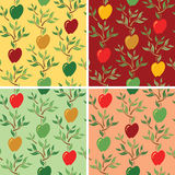 Apple Pattern. Seamless pattern of stylized apples, leaves and branches in four colorways Royalty Free Stock Images