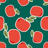 Apple pattern. Seamless texture with ripe red apples Royalty Free Stock Image