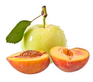 Apple and peach Royalty Free Stock Images