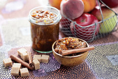 Apple and peaches chutney Stock Image