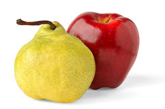 Apple and pear. Red apple and yellow pear isolated on white background royalty free stock image