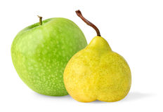 Apple and pear. Isolated fruits. Green apple and yellow pear isolated on white background royalty free stock photography