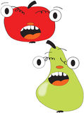 Apple and pear. Funny illustration of shocked fruits apple and pear Royalty Free Stock Photos