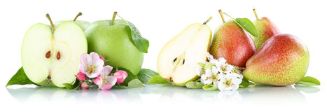 Apple and pear apples pears fruit fruits isolated on white Stock Photos