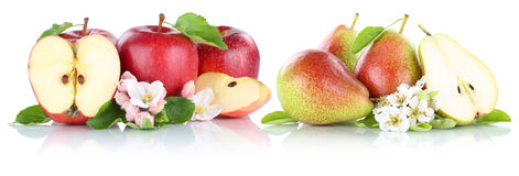Apple and pear apples pears fruit red fruits slice isolated Royalty Free Stock Images