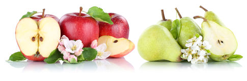 Apple and pear apples pears fruit red green fruits slice isolate Stock Images