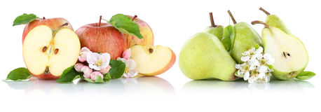 Apple and pear apples pears fruit red green fruits slice isolate Stock Photo